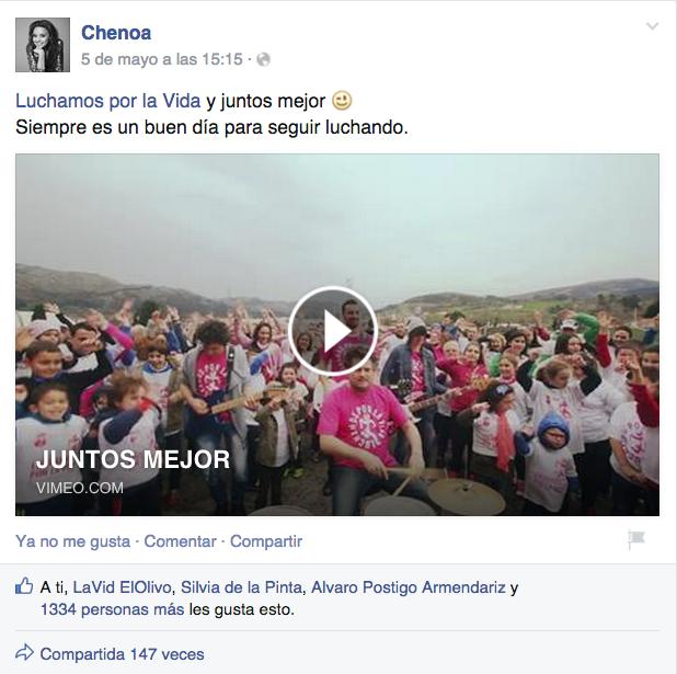 A CHENOA le gusta nuestro videoclip «JUNTOS MEJOR»
